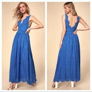 LULUS Cobalt Eyelet Lace Maxi Dress Blue Cotton M